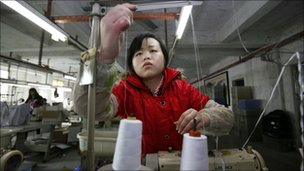 Worker at a factory in China