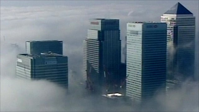 Aerial shot of London banking buildings