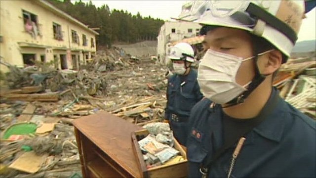 Workers in Otsuchi remember the dead
