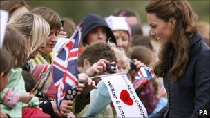 Kate Middleton reacts to the crowd at Witton County Park, Blackburn