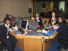 Wimbledon High School pupils  in a radio studio