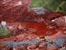 Aerial view of red sludge