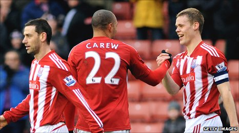 Stoke City captain Ryan Shawcross celebrates his goal against Brighton