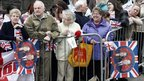 Well-wishers in Darwen, waiting to see Prince William and Kate Middleton