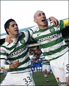 Beram Kayal and Scott Brown celebrate for Celtic