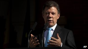 Juan Manuel Santos in Madrid on 12 April 2011