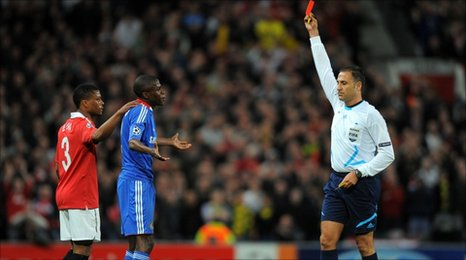 Chelsea's Ramires is shown a red card