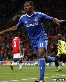 Chelsea's Didier Drogba celebrates after scoring the equaliser