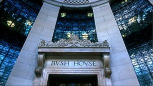 The front Portico entrance of BBC&#039;s Bush House in the Aldwych, London