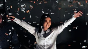 Keiko Fujimori celebrates at her party&#039;s headquarters on 10 April, 2011