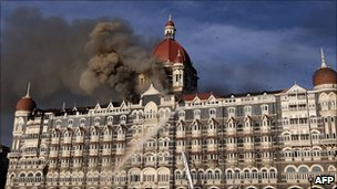 Taj Mahal Hotel in Mumbai on November 27, 2008