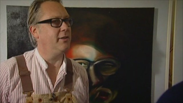 Vic Reeves at art exhibition
