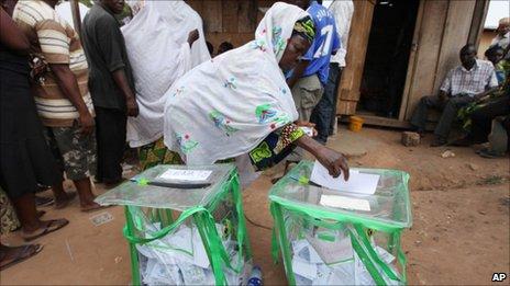 Woman voting in legislative election
