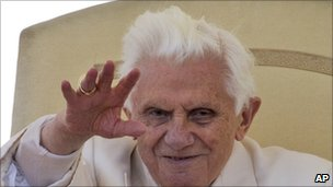 Pope Benedict XVI during a general audience at the Vatican, 13 April 2011