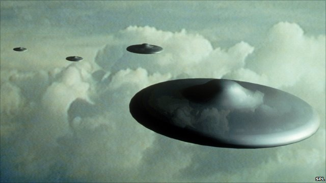 Computer illustration of UFOs