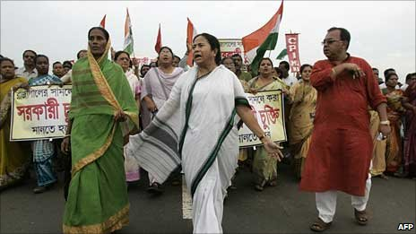 Mamata Banerjee leading her supporters