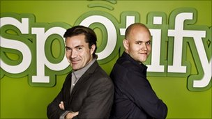 Spotify with founders Martin Lorentzon (L) and Daniel Ek (R).