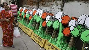 Trinamool Congress banners in Calcutta