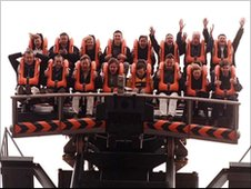 Oblivion rollercoaster vertical drop ride at Alton Towers