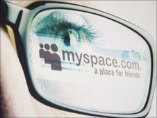 MySpace logo surrounded by glasses