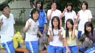 Members of the swimming club before the tsunami hit