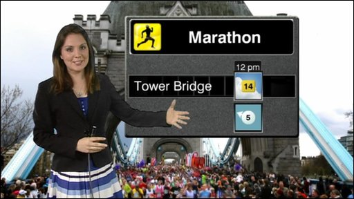 Laura Tobin with the latest weather for the London Marathon
