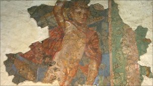 Painting of a cupid found in the Southwell Roman villa's bathhouse. Photo courtesy of University of Nottingham Archaeology Museum