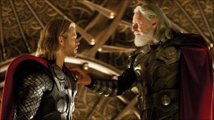 Chris Hemsworth and Athony Hopkins in Thor