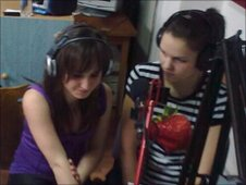 Students at a radio station in Hungary