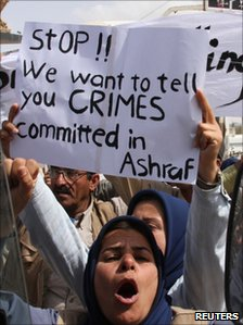 Residents of Camp Ashraf demonstrate in Diyala province, north of Baghdad, 9 April 2011