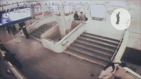 The suspected Minsk metro bomber is picked out with a white circle in a CCTV still released by prosecutors