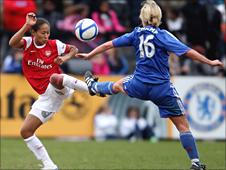Arsenal's Rachel Yankey challenges Chelsea's Leanne Champ