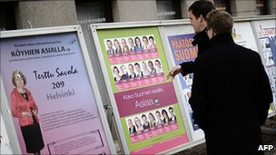 Election posters in Helsinki, 13 Apr 11