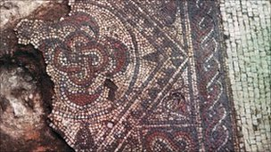 Roman mosaic uncovered in Southwell. Photo courtesy of University of Nottingham Archaeology Museum