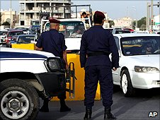 Bahrain police at checkpoint
