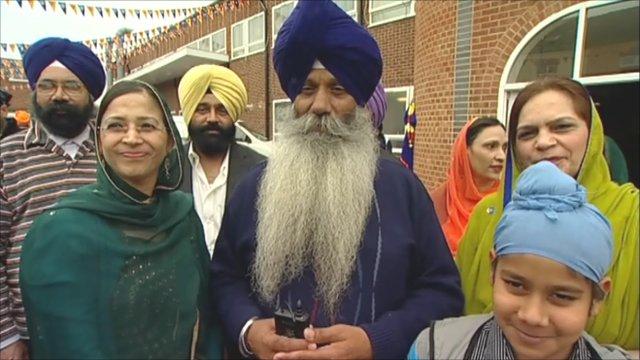 People celebrating Vaisakhi at Gurdwara Guru Tegh Bahadur, Leicester