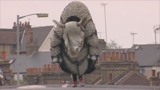 The new-look Save the Rhino costume for the London Marathon