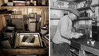 Left: Ponting's darkroom in 2011, Right: Ponting in his darkroom in 1911