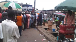 A photo from BBC Hausa listener, Ubale of voting in Apapa, Lagos, Nigeria
