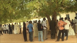 Voters queuing in Yola