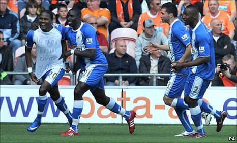 Hugo Rodallega (left) gave Wigan an early lead at Blackpool