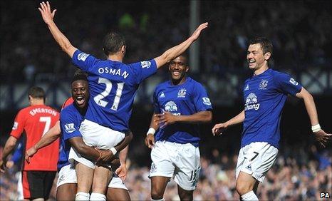 Leon Osman celebrates
