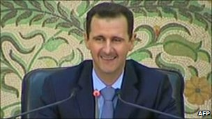 Screen grab of Bashar al-Assad's speech to cabinet members broadcast on Syrian State TV, 16 April 2011
