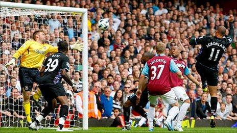 Gabriel Agbonlahor heads Villa's late winner