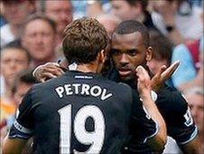 Stiliyan Petrov congratulates Darren Bent