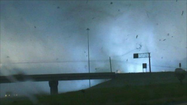 Tornado hitting power lines