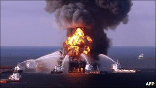 Crews fight the deadly fire aboard BP&#039;s Deepwater Horizon rig