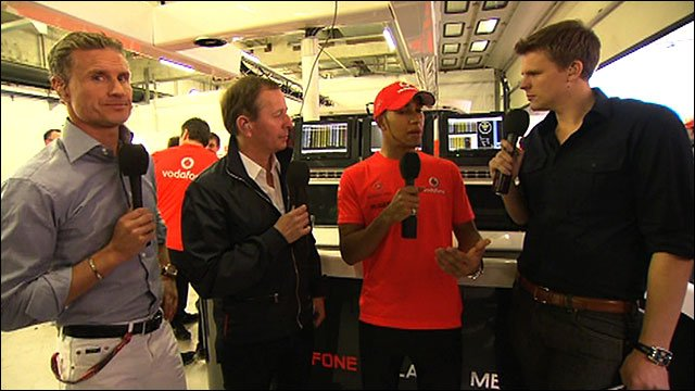 David Coulthard, Martin Brundle, Lewis Hamilton and Jake Humphrey
