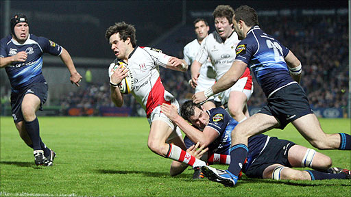 Ulster full-back Adam D'Arcy on the attack against Leinster