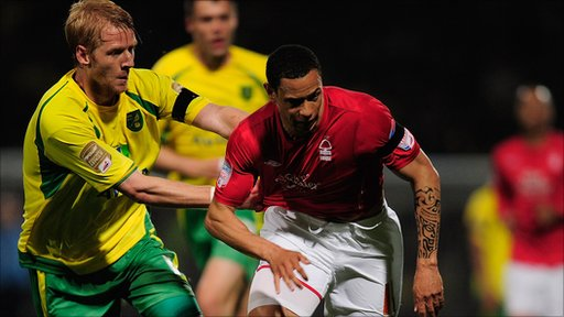 Norwich's Zak Whitbread and Forest's Nathan Tyson